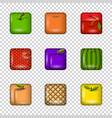 set of app icons-fruits on transparent background vector image vector image