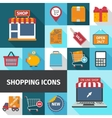Shopping square icons set vector image vector image