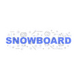 snowboard word with line icon vector image vector image