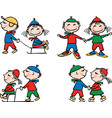 the cheerful kids in winter time vector image vector image