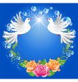 Two doves on blue background vector image vector image