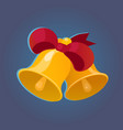two golden bells with red ribbon vector image