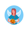 woman wearing magic fairy costume face avatar vector image