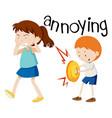 young boy annoying girl vector image vector image