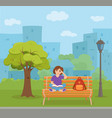 young woman reading book sitting on a bench in vector image