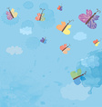 Background with sky and butterflies - watercolor vector image