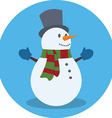 Snowman Christmas concept Flat design Icon in blue vector image