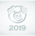 2019 and pig cut out paper style vector image