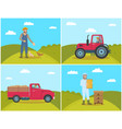 beekeeper on field lorry set vector image vector image