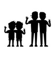 best friends silhouettes isolated on white vector image vector image