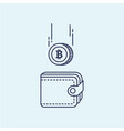 bitcoin and the wallet vector image vector image
