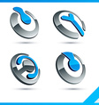 Blue 3d company signs vector image vector image