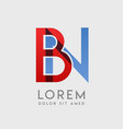 bn logo letters with blue and red gradation vector image vector image