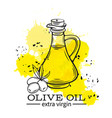 bottle of olive oil with olives vector image vector image