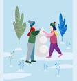 boy and girl making snowman in the park vector image vector image