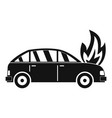 burning car icon simple style vector image vector image