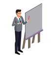 businessman on presentation 3d vector image