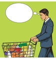 Businessman with shopping cart pop art vector image