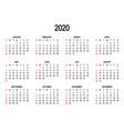 calendar template 2020 day week starts vector image vector image