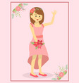 casual pink wedding bride vector image