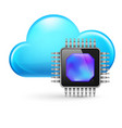 chip and cloud on white background vector image vector image