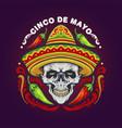 cinco de mayo mexican skull with hat vector image