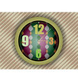 Colorful clock on abstract wall background vector image vector image