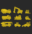 construction machinery icons vector image