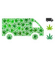 delivery car mosaic of marijuana vector image vector image