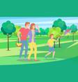 family walks in nature kid playing kite man vector image