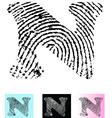 Fingerprint Alphabet Letter N vector image