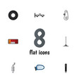 flat icon component set of cambelt headlight vector image vector image