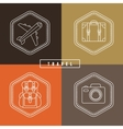 flat travel badges in outline style vector image vector image