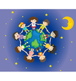 Happy kids surrounding the Earth vector image vector image