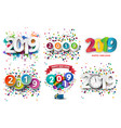 happy new year 2019 celebration with colorful vector image