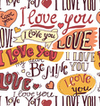 i love you hand drawn lettering seamless pattern vector image