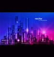 illuminated night city skyline vector image