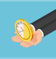 isometric businessman hands holding half clock vector image vector image