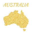 Map of Australia in golden With gold yellow vector image