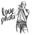 photographer - hand drawn vector image vector image