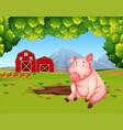 pig at the farmland landscape vector image vector image