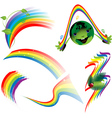 Rainbow set of decorative elements vector image
