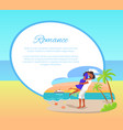 romance web poster with couple embracing seashore vector image vector image