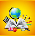 School concept with opened book and tools on vector image vector image