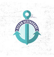 sea restaurant logo anchor ribbon vector image
