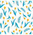 seamless pattern with tulip on white vector image vector image
