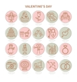 Set of flat icons Valentine s Day vector image