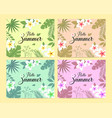 set of summer card template with colorful vector image vector image