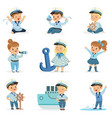 small children in sailors costumes dreaming of vector image vector image