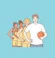 teamwork sport basketball portrait concept vector image vector image